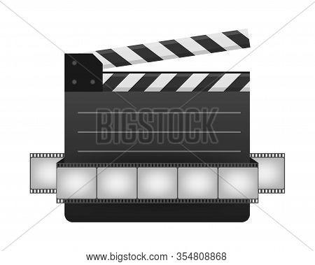 Black Closed Clapperboard And Film Strip. Black Cinema Slate Board, Device Used In Filmmaking And Vi
