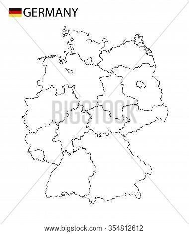 Germany Map, Black And White Detailed Outline With Regions Of The Country.