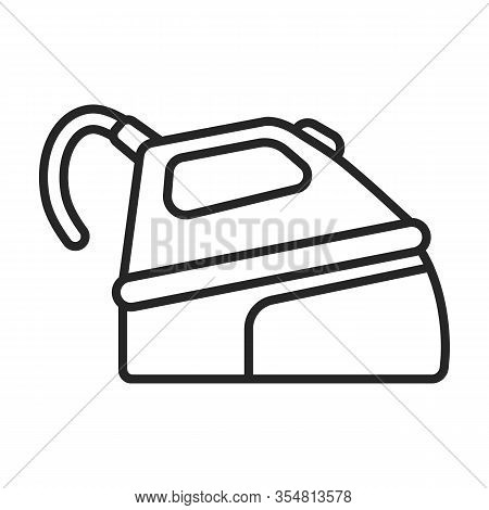 Steam Iron For Home Clothes Vector Outline Icon.outline Illustration Of Laundry Appliance And Hot St