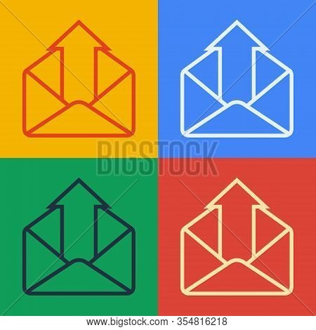 Pop Art Line Outgoing Mail Icon Isolated On Color Background. Envelope Symbol. Outgoing Message Sign