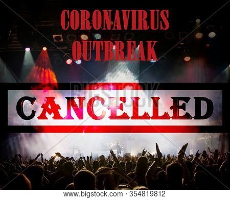 public event cancelled - crowd at concert - coronavirus measures