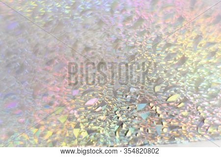Color Neon Gradient. Abstract Blurred Background. Silver Paper With A Holographic Effect. Close Up S