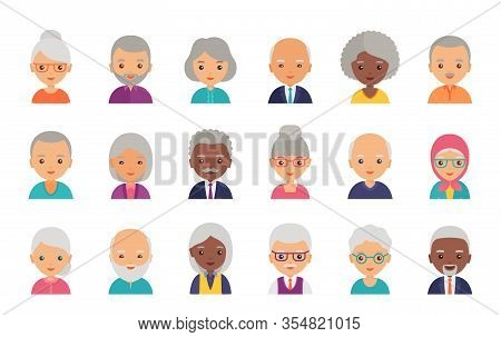 Old People Avatar. Vector. Person Flat Icon. Elderly Seniors. Set Happy Grandfathers And Grandmother