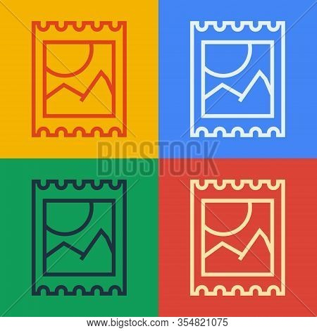Pop Art Line Lsd Acid Mark Icon Isolated On Color Background. Acid Narcotic. Postmark. Postage Stamp