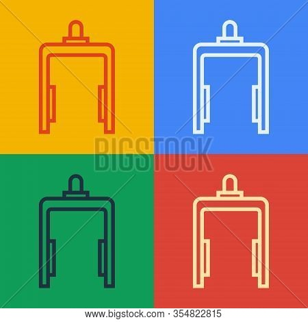 Pop Art Line Metal Detector In Airport Icon Isolated On Color Background. Airport Security Guard On