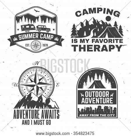 Set Of Outdoor Adventure Inspirational Quote. Vector Illustration. Concept For Shirt, Logo, Print, S