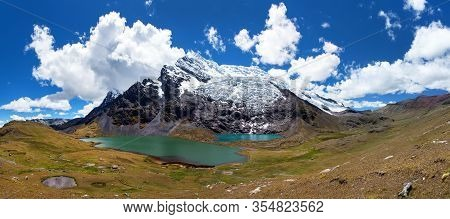 Ausangate Trek Trekking Trail,  Moutain With Lake And Glacier, Ausangate Circuit, Cordillera Vilcano