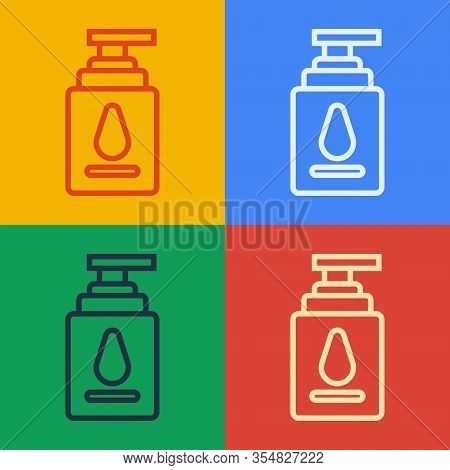 Pop Art Line Personal Lubricant Icon Isolated On Color Background. Lubricating Gel. Cream For Erotic