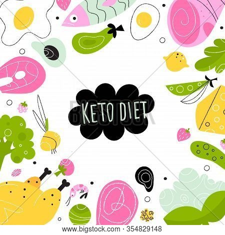 Ketogenic Diet. Vector Illustration Of Healthy Keto Food. Banner, Poster Template.