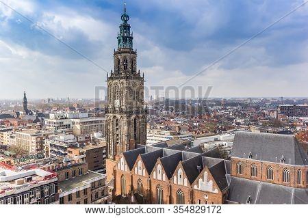 Groningen, Netherlands - March 07, 2020: Historic Martini Church Dominating The Skyline Of Groningen
