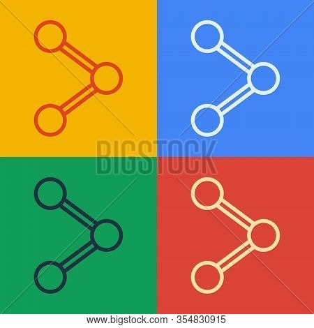 Pop Art Line Share Icon Isolated On Color Background. Share, Sharing, Communication Pictogram, Socia