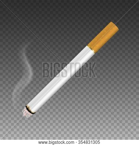 Vector 3d Realistic Clear Blank Whole Lit Cigarette With Smoke Icon Closeup Isolated On Transparent