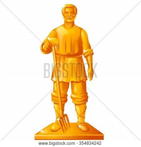 Golden Statue In The Shape Of A Peasant With A Garden Pitchfork Isolated On White Background. Vector