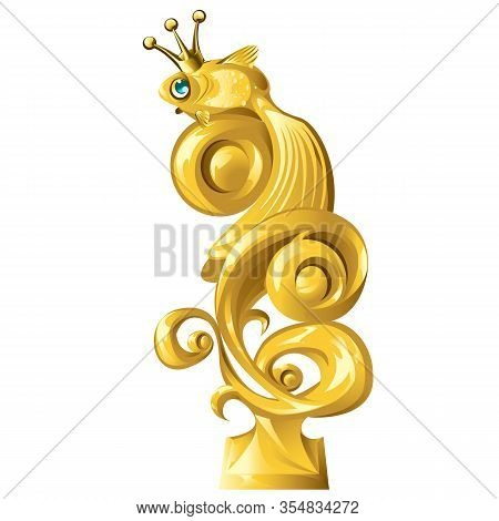 Fish Figurine Made Of Gold Isolated On White Background. Vector Cartoon Close-up Illustration.