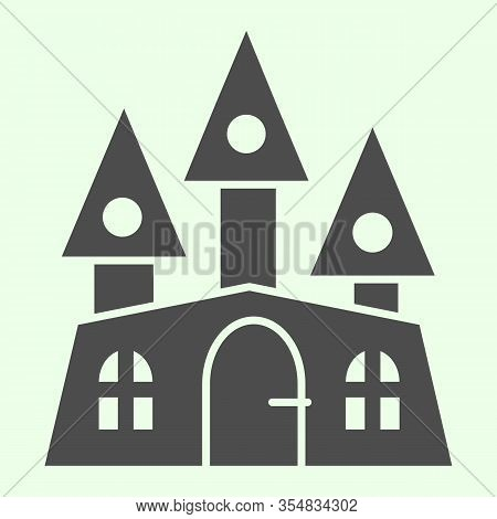 Haunted House Solid Icon. Halloween Mystical Gothic Building Glyph Style Pictogram On White Backgrou