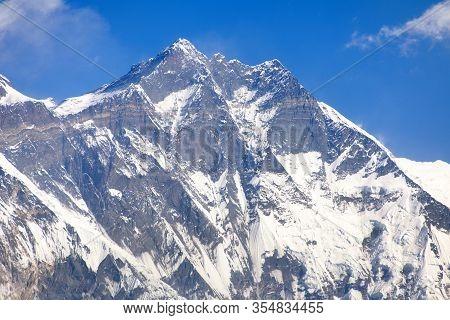 View Of Top Of Lhotse, South Rock Face, Khumbu Valley, Sagarmatha National Park, Nepal Himalayas Mou