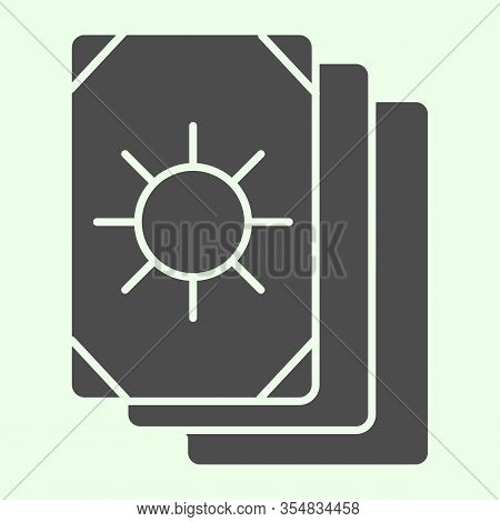 Tarot Cards Solid Icon. Oracle Card Stack With Sun Circle Image Glyph Style Pictogram On White Backg