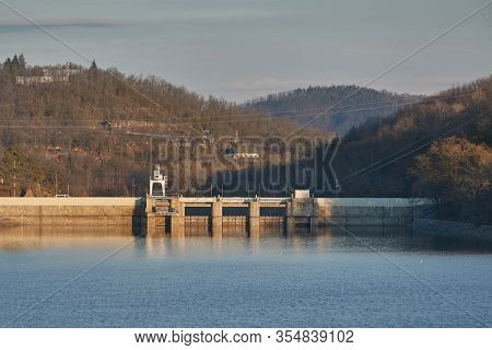 Hydroelectric power plant dam at a reservoir near Brno