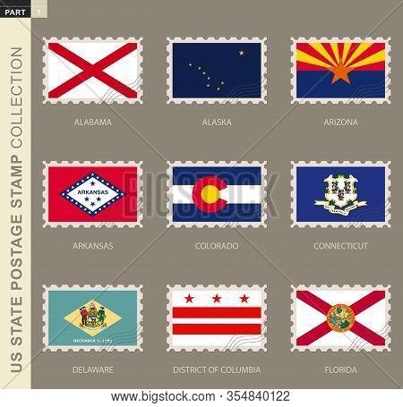 Postage Stamp With Usa States Flag, Collection Of 9 Us States Flag: Alabama, Alaska, Arizona, Arkans