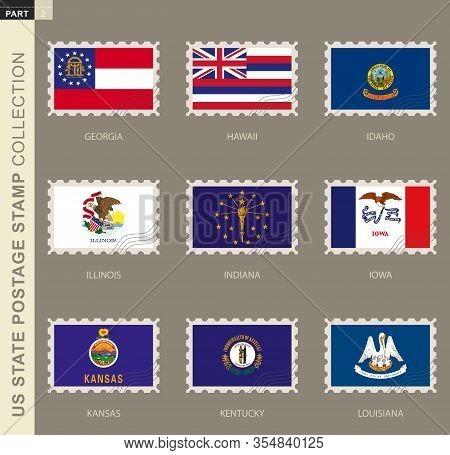 Postage Stamp With Usa States Flag, Collection Of 9 Us States Flag: Georgia, Hawaii, Idaho, Illinois