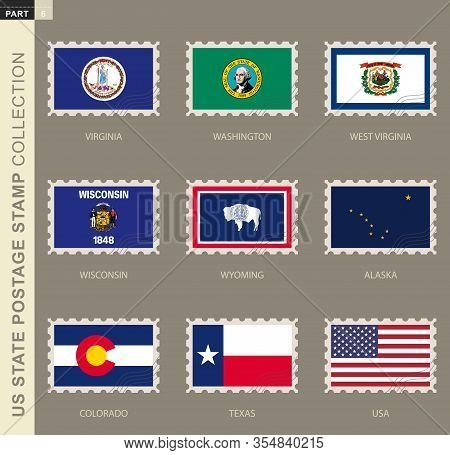 Postage Stamp With Usa States Flag, Collection Of 9 Us States Flag: Virginia, Washington, West Virgi
