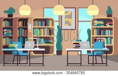 Library. Public Reading Room With Bookcase, Bookshelves, Wooden Desks, Chairs And Computers, College