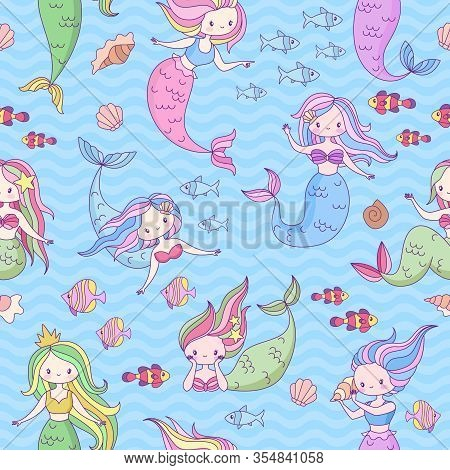 Mermaid Seamless Pattern. Cute Little Mermaids And Underwater World Design For Wallpaper, Fabric Pri