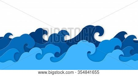 Paper Sea Waves. Blue Water Wave Paper Cut Decor, Marine Landscape With Curly Waves Ocean. Origami S