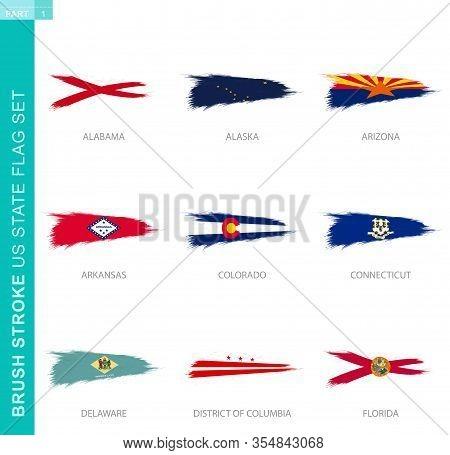 Vector Brush Stroke Flag Set Of Us States, Nine Grunge Flag: Alabama, Alaska, Arizona, Arkansas, Col
