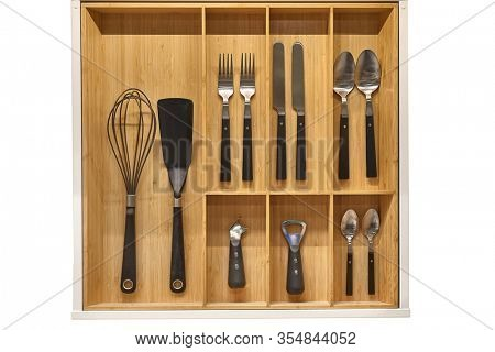 Kitchen utensil cutlery drawer organizer tray with simple set of tools, minimalist order
