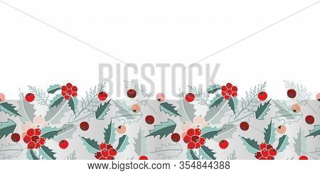 Mist Mistletoe Border-marry Christmas, Seamless Repeat Pattern. Multi Layer Border Design Of Cypress