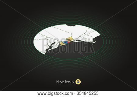 New Jersey Map In Dark Color, Oval Map With Neighboring Us States. Vector Map And Flag Of Us State N