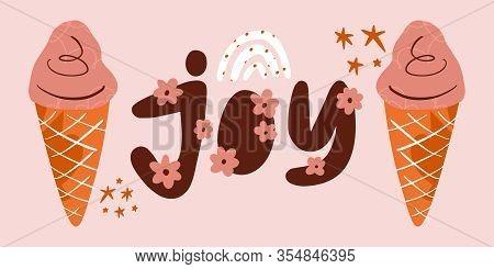 Pop Art Icecream Summer Banner. Vector Illustration, Clip Art Image, Cartoon Flat Design