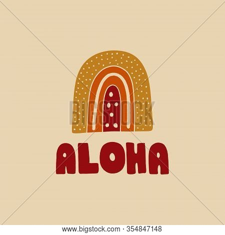 Flat Aloha Summer Lettering Art Print Vector Illustration In Modern Collage Artistic Trendy Style