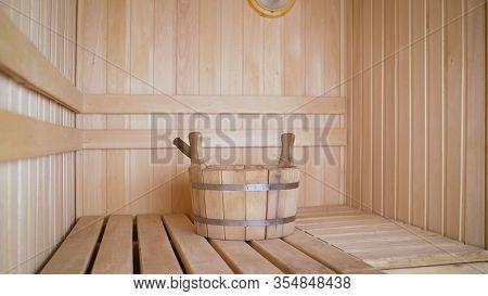 Interior Details Finnish Sauna Steam Room With Traditional Sauna Accessories Basin Scoop. Traditiona