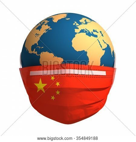 Earth In Medical Mask With Flag Of China. 3d Illustration.