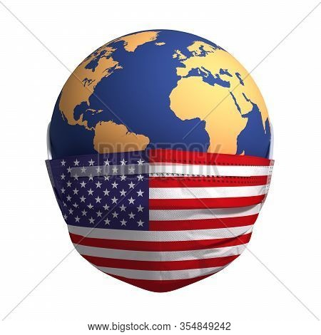 Earth In Medical Mask With Flag Of Usa. 3d Illustration.