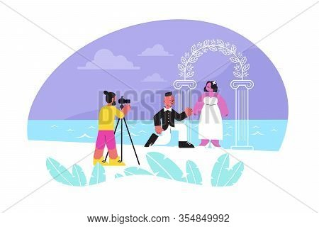 Photo Session Wedding Flat Composition With Human Characters Of Newly Wedded Couple Taking Photo Nea