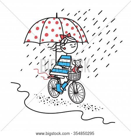 Happy Girl With Her Dog Rides Bicycle Under Umbrella . Smiling Girl Rides Bicycle In Rain By Road. H