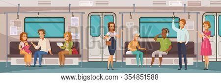 Subway Underground People Cartoon Horizontal Composition With View Of Passenger Compartment With Int