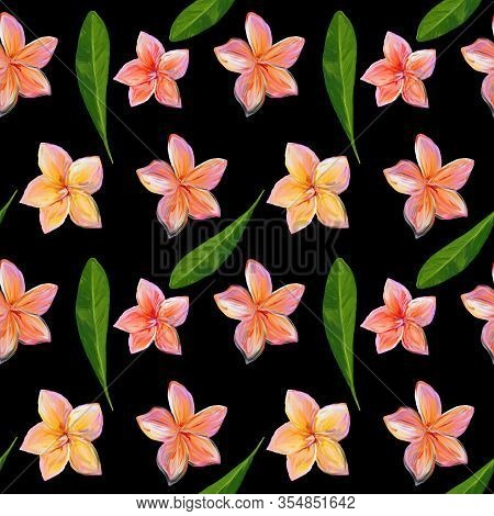 Frangipani , Plumeria Tropical Flowers. Seamless Pattern Background. Tropical Floral Summer Seamless