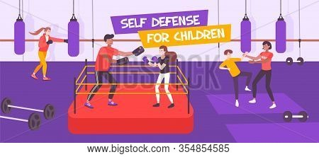 Self Defense Kid Flat Composition With Text And Indoor View Of Boxing Sport Section For Children Vec