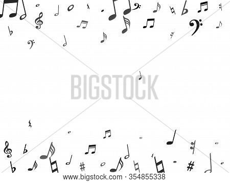 Black Flying Musical Notes Isolated On White Background. Grayscale Musical Notation Symphony Signs,