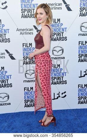 LOS ANGELES - JAN 06:  Rachel Brosnahan arrives for the Film Independent Spirit Awards 2020 on February 08, 2020 in Santa Monica, CA