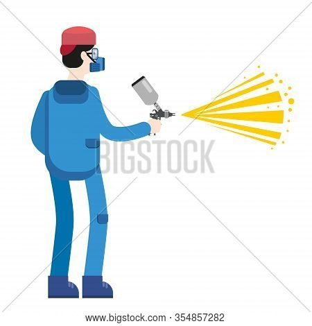 Spray Painter Professional Character Spraying Yellow Paint From Paint Gun Wearing Mask And Uniform.