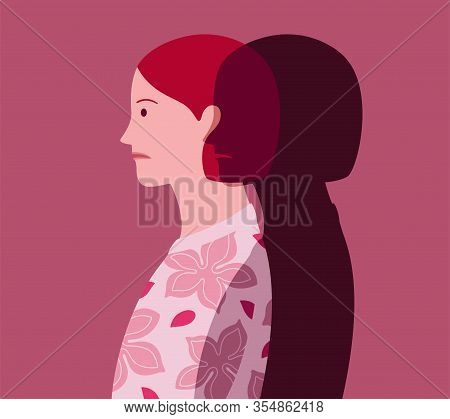 Profile Portrait Of Unhappy Young Woman Who Feels The Approach Of Depression, Represented As A Dark
