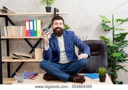 Feeling Free. Self Care. Relaxation Techniques. Mental Wellbeing And Relax. Man Bearded Manager Form