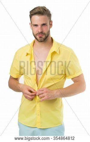Heat Season. Modern Fashion. Dressing Room. Attractive Man Taking Off Shirt. Confident In His Appeal