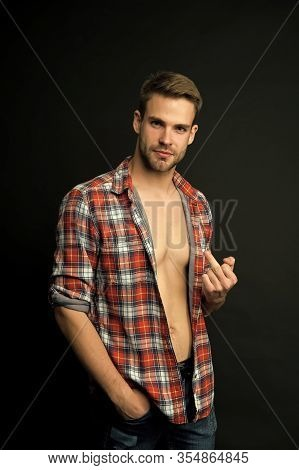 Go To Hell. Handsome Rude Boy. Sexy Macho. Brutal Guy. Attractive Man Confident Face Show Middle Fin