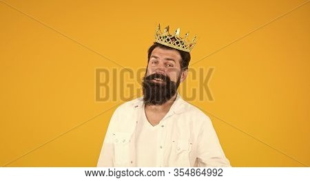 Holiday Carnival Celebration. Superstar Concept. Bearded Man King Costume Party. Sense Of Self Impor